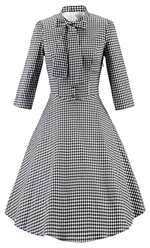 SMITHROAD Damen Kleid 50s Retro Rockabilly Swing Party Ballkleid kariert  tailliert Halbarm Bow Schleife Kragen Knopfleistung