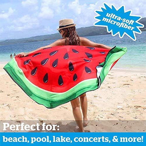BigMouth Inc - Toalla Playa Melon Agua Sandia Gigante - XXL Redonda Bano Alfombra