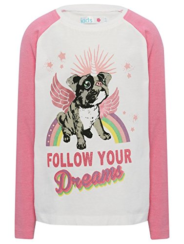MCo-Girls-Pull-On-Soft-Cotton-Pink-Long-Sleeve-Pugicorn-Print-Follow-Your-Dreams-Slogan-Pyjama-Top