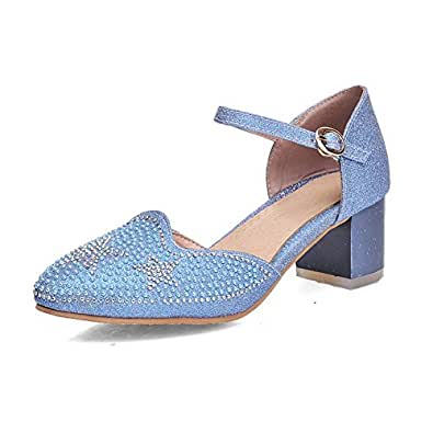 AgooLar Women's Pointed Closed Toe Kitten Heels Solid Buckle Pumps Shoes, Blue, 33