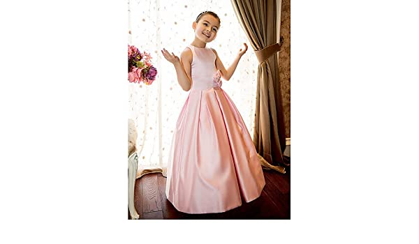 7ffe05ab1 Xuanku A-Line Princess Floor Length Flower Girl Dress - Satin Sleeveless  Jewel Neck with Flower by LAN TING BRIDE: Amazon.co.uk: Sports & Outdoors