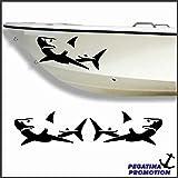 2 x weisser Hai weißer Haifisch Typ 3 Aufkleber aus Hochleistungsfolie - viele Farben zur Auswahl - Angler Angelboot Sticker Boot Boote Beschriftung Bug Heck Fische Angeln Schlauchboot Nautic See Fischer