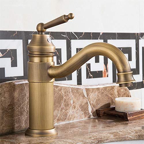 D1-licht-bad (LHbox Bad Armatur in Bad für Waschbecken Waschtisch Wasserhahn Waschtischarmatur Ein Komplettes kontinentales Wasserhahn Messing Antik Antike Einloch Waschtischmischer Rotation, D1)