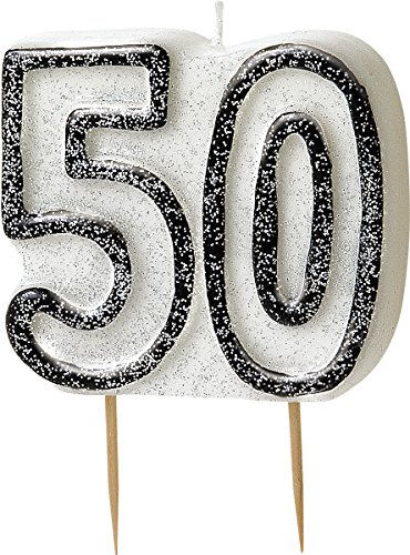 bling-party-decorations-and-tableware-for-50th-birthday-in-black-silver-glitz-50th-candle