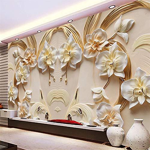 Mrlwy Tapete Phalaenopsis des kundenspezifischen Wandbildes 3D prägte Hintergrund-Wand-3D Sandstein-Entlastungs-Wand-Wohnzimmer-Sofa-Schlafzimmer-Tapete-190X130CM