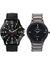Rico Sordi Men's Premium Leather And Metal Watch Combo Pack Of 2 RSPWC-2-5