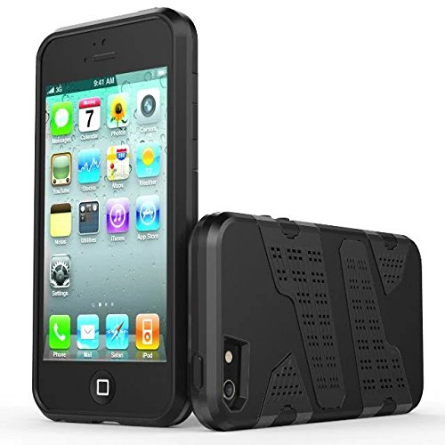 iPhone 5 5S Coque,iPhone SE Coque,Lantier Armor avec Air Hole Design Contre jour léger Dual Layer Hybrid Defender Housse de protection pour iPhone 5/5S/SE vert Black