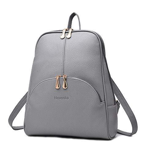 Nevenka Zaino Donna Borsa a Spalla in Pelle PU Zainetto Casual Borsa a Mano Backpack alla Moda per Shopping Scuola Viaggio Vacanza (grigio)