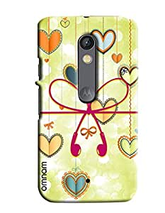 Omnam Earphones In Heart Shape With Heart Background Printed Designer Back Cover Case For Motorola Moto X Play
