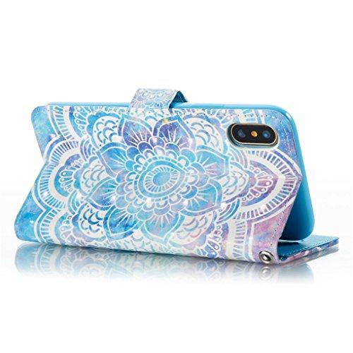 Apple iPhone X Hülle, SATURCASE Schönes 3D Muster PU Lederhülle Ledertasche Magnetverschluss Flip Cover Brieftasche Case Handy Tasche Schutzhülle Handyhülle Hülle mit Standfunktion Kartenfächer und Ha Muster-12