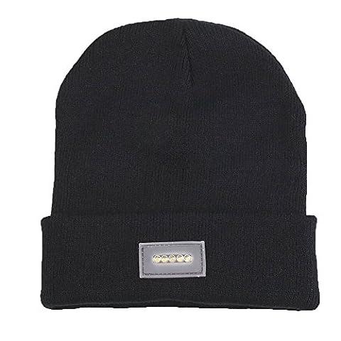 Ebilun 5LED Strick Warm Hut Hände Freie Taschenlampe Cap für Klettern Angeln Radfahren Schwarz