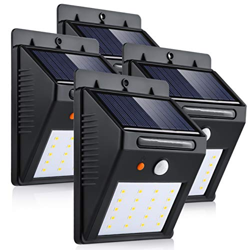 Luz de Solar, Luces Solares LED de Pared, Blanco 6000K PIR Sensor...