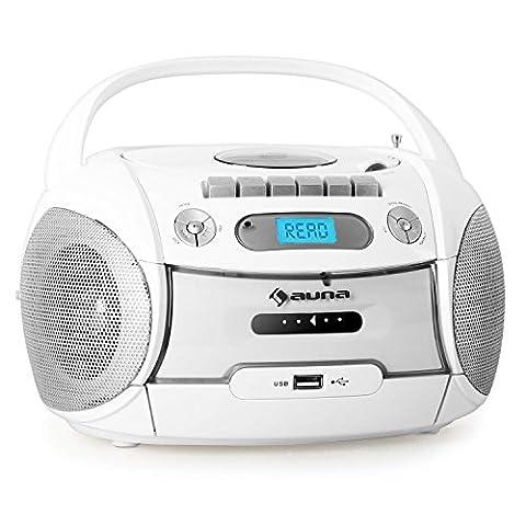 auna Boomberry Ghettoblaster Kassettenplayer (CD-Player, UKW-Radio, MP3-fähiger USB-Port, Netz-/Batteriebetrieb, transportabel)