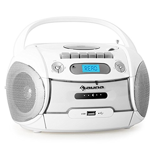 auna Boomberry Ghettoblaster Kassettenplayer (CD-Player, UKW-Radio, MP3-fähiger USB-Port, Netz-/Batteriebetrieb, transportabel) weiß