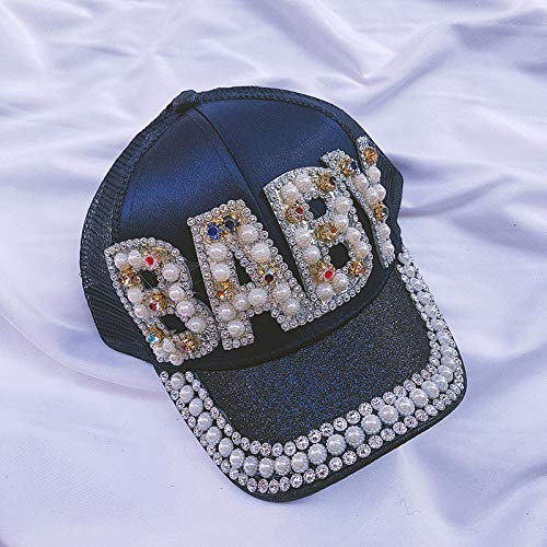 zhuzhuwen 2019 Parent-Child hat Female Children's Visor Breathable mesh Cap European and American Letters Fashion Rhinestone Cap 11  56-62cm - Girl Puppe American Kleidung Strand