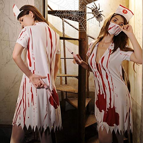 Braut Mitternacht Kostüm - WANLN Gespenstische Krankenschwester-Geist-Dame Blutige Halloween-Geister Stammes- gespenstische Braut-Lattich-Geist-Festival,Rosa