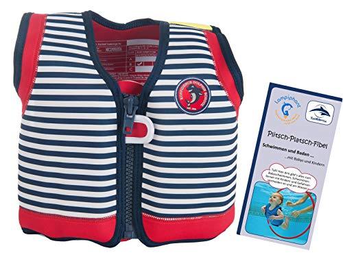 Lampiphant® + Original Konfidence Kinder-Schwimmweste aus Neopren, 1,5-3 Jahre, blau weiß gestreift, mit Plitsch-Platsch-Fibel - Für Babys Schwimmweste