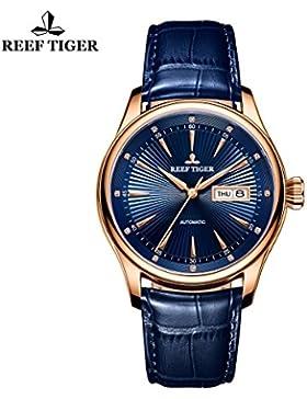Reef Tiger Business Rose Gold blau Zifferblatt Leder Armbanduhr mit Datum Tag RGA8232
