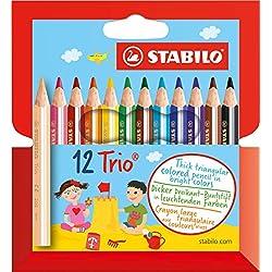 STABILO Trio thick short - Lápiz de color escolar triangular, grueso y corto - Estuche con 12 colores
