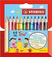 STABILO Trio court - Étui carton de 12 crayons de couleur triangulaires