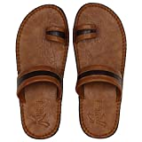 Best Leather Slippers - Kraasa Men's Tan Synthetic Leather Slippers - 9 Review