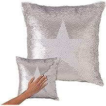 Dcasa - Cojín lentejuelas reversibles estrella blanco plata 40x40