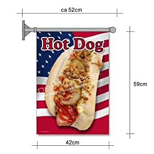 Hot dog-drapeau pour hot dog-reklame a2 drapeau saucisson rectangulaires snack publicité