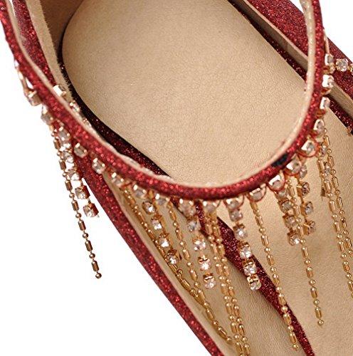 AllhqFashion Femme à Talon Haut Matière Souple Mosaïque Boucle Pointu Chaussures Légeres Rouge