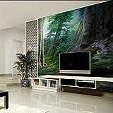 Wongxl Die Ursprünglichen Waldbäume Tropischer Regenwaldtapete Idyllische Grüne Landschaftstapete Wohnzimmer Fernsehwand 3D Tapete Hintergrundbild Fresko Wandmalerei Wallpaper Mural 300cmX250cm