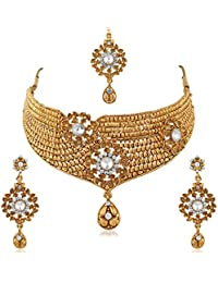 PALASH Elgant Floral Gold Plated Choker Bridal Necklaces Set With White Stones For Women And Girls