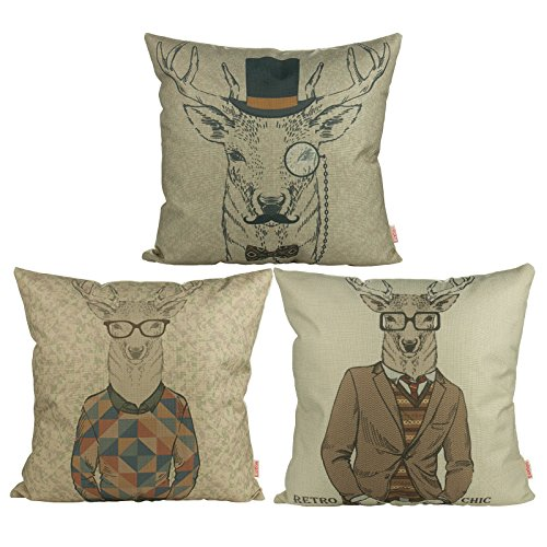 Luxbon 3er Set Gentleman Brille Hirsch Leinen Kissenbezug Kissen Fall Sofa Taille Throw Cover Pillowcase Hülle Kinder Kopfkissen Couch Stuhl Auto Haus Deko 45 x 45 cm