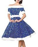 Blaues kurzes Swing Kleid im High Waist Schnitt mit Gürtel und Tellerrock weiß gepunktet und schulterfrei bandeau S