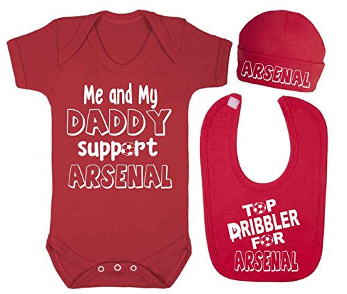 Me and My Daddy Support Arsenal bebé chaleco gorro y babero juego de