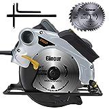 Scie circulaire,1500W Ginour Guide Laser, 4700 RPM, Coupant: 67mm (90°), 46mm (45°), 2 Lames 190mm*30mm (40T+24T), Interrupteur de Sécurité