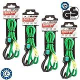4er Set Premium Qualität Gepäckspanner mit Haken, Spannseile, 90 cm lang, 8 mm Durchmesser, Farbe: grün
