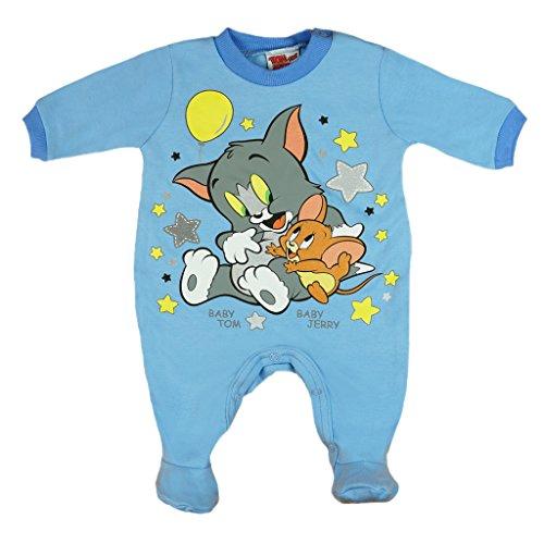Jungen BABY-STRAMPLER mit Füßchen, LANG-ARM, Spiel-Anzug mit Druck-Knöpfen, BABY-SCHLAFANZUG mit Tom und Jerry, Grösse 56, 62, 68, 74, Geschenk für Neugeborene in blau oder grau Size 74, Farbe Blau