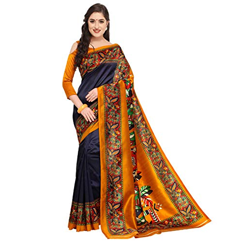 Oomph! Women's Art Silk Sarees Party Wear/Printed Art Silk Sarees - Indigo Blue