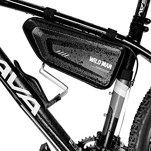 1.5L Harte Schale Wasserdichtes Dreieck Fahrrad Fahrrad Vordere Rohrrahmentasche, Outdoor Berg Rennrad Tasche (schwarz)