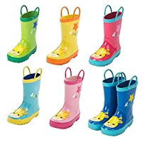 Deylaying Kids Children Cute Pull Handles Non-Slip Rainboots Boys Girls Rubber Water Shoes Rain Boots Snow Boots Winter Boots