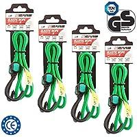 4CARS Juego de 4 Piezas Cuerda, Correa de Equipaje Cuerda elástica con Ganchos, 90 cm de Largo, 8 mm de Espesor, Color: Verde