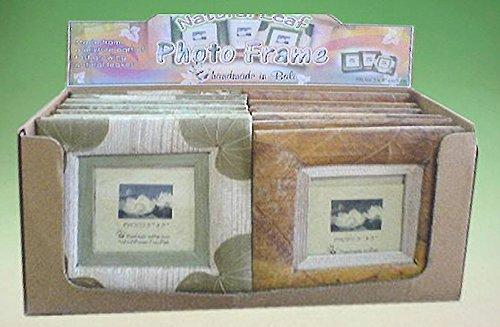 Idea bomboniere comunione o cresima: elegante portafoto in stile etnico con foglia in due colorazioni, cm 16*16