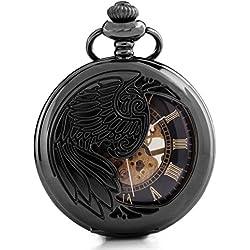 Alienwork Retro Handaufzug mechanische Taschenuhr Skelett Uhr graviert schwarz Metall W891-06