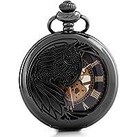 Alienwork Retro orologio da tasca meccanico Scheletro carica manuale inciso Metallo nero nero W891-06