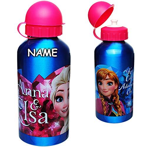 alles-meine.de GmbH Aluflasche / Trinkflasche -  Disney die Eiskönigin - Frozen  - inkl. Name - auslaufsicher - 500 ml - Aluminium - für Kinder - Sportflasche 0,5 Liter / Alutr..