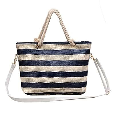 OHQ Sacs PortéS Main❤️Fashion Ladies Color Striped Weave Single Shoulder Portable Beach Bag Messenger Bleu Noir Rouge Mode Femmes Stripe Sacs à BandoulièRe Simple Fourre-Tout Main Sac (Bleu)
