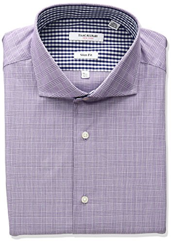 isaac-mizrahi-mens-slim-fit-glen-plaid-cut-away-collar-dress-shirt-grape-17-neck-34-35-sleeve