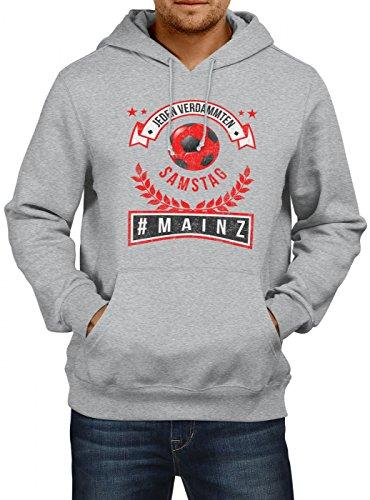 Shirt Happenz Mainz #1 Premium Hoodie   Fussball   Fan-Trikot   #jeden-verdammten-Samstag   Herren   Kapuzenpullover, Farbe:Graumeliert;Größe:L