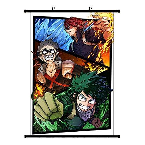 Yovvin My Hero Academia Rollbild Kakemono aus Stoff Poster, Izuku Midoriya, Katsuki Bakugou, Todoroki, Ochako, Tsuyu Wanddekoration (Style 07, S - 30 x 45 cm)