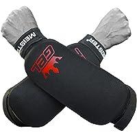 Protectores de antebrazo elásticos, con acolchado integrado, de Meister MMA (par), hombre, negro
