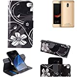 K-S-Trade Schutzhülle für Leagoo Z6 Hülle 360° Wallet Case Schutz Hülle ''Flowers'' Smartphone Flip Cover Flipstyle Tasche Handyhülle schwarz-weiß 1x